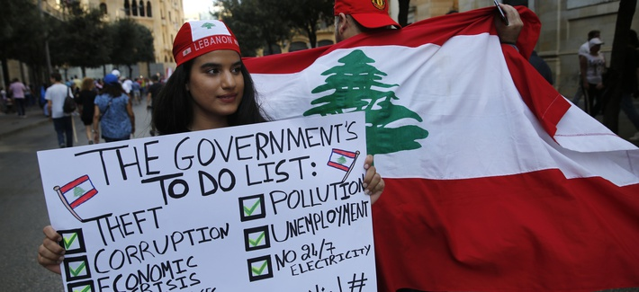 Protesters in Beirut, Lebanon, Sunday, Oct. 20, 2019.