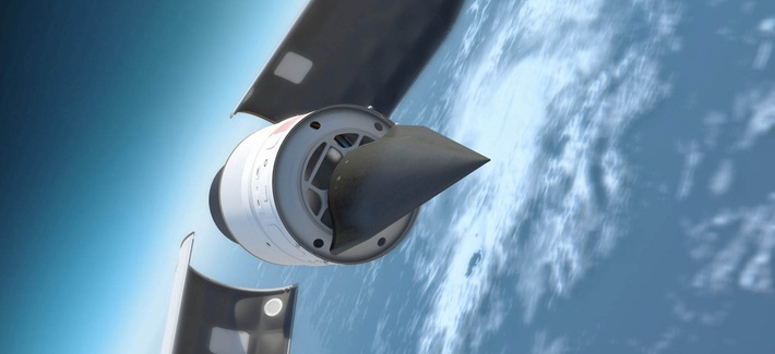 This 2019 illustration shows the Defense Advanced Research Products Agency's Falcon Hypersonic Test Vehicle emerges from its rocket nose cone and prepares to re-enter the Earth's atmosphere.