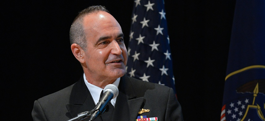 Vice Adm. Charles Richard, U.S. Strategic Command deputy commander, speaks in 2017.