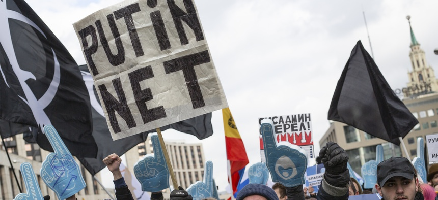 Demonstrators shout during the Free Internet rally in response to a bill making its way through parliament calling for all internet traffic to be routed through servers in Russia — making VPNs ineffective, March 10, Moscow.
