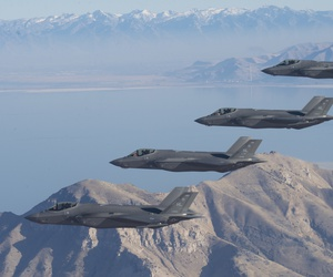 A formation of F-35 Lightning IIs from the 388th Fighter Wing and 419th FW stationed at Hill Air Force Base, Utah, perform aerial maneuvers during as part of a combat power exercise over Utah Test and Training Range, Nov. 19, 2018.