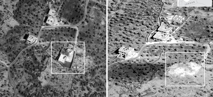 A side-by-side comparison of the compound before and after the raid. No collateral damage to adjacent structures Oct. 26, 2019.