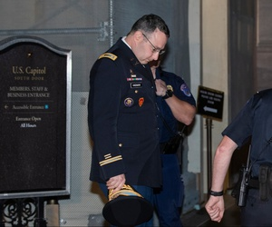 Army Lt. Col. Alexander Vindman, a military officer at the National Security Council, leaves Capitol Hill on Tuesday.
