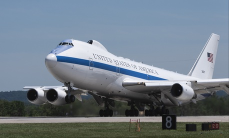 A U.S. Air Force E-4B National Airborne Operations Center aircraft takes off from Offutt Air Force Base, Nebraska, July 10, 2019.
