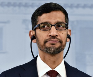 Google CEO Sundar Pichai attends a joint press conference with Prime Minister of Finland Antti Rinne in Helsinki, Finland, Friday Sept. 20, 2019.