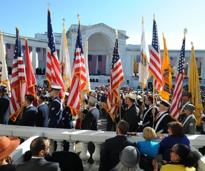 Veterans gather at Arlington Cemetery in 2014 to mark Veterans Day.