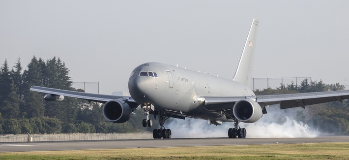 A Boeing KC-46A Pegasus touches down at Yokota Air Base, Japan, Oct. 23, 2018, during a system evaluation.