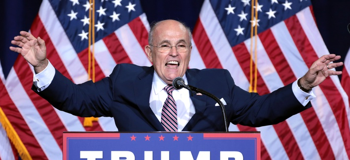 Former Mayor Rudy Giuliani of New York City speaking to supporters at an immigration policy speech hosted by Donald Trump at the Phoenix Convention Center in Phoenix, Arizona, in August 2016.