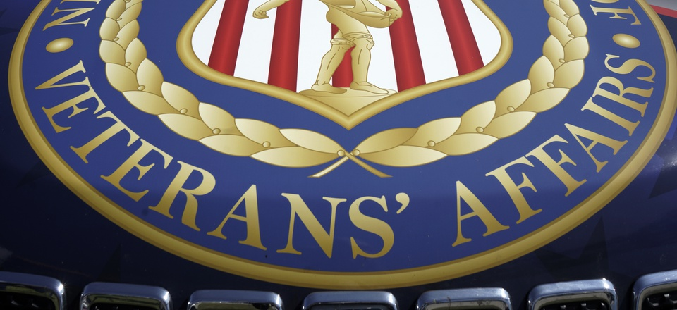 The logo of the Nebraska Department of Veteran Affairs is seen on the hood of a Jeep, at the Husker Harvest Days farm show in Grand Island, Neb., Tuesday, Sept. 10, 2019.