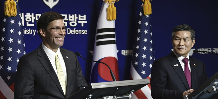 U.S. Defense Secretary Mark Esper, left, and South Korean Defense Minister Jeong Kyeong-doo, right, hold a joint press conference after the 51st Security Consultative Meeting (SCM) at the Defense Ministry in Seoul Friday, Nov. 15, 2019.