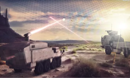 A screen shot from a promo video from weapons maker Lockheed Martin showing multi-domain battle concepts.