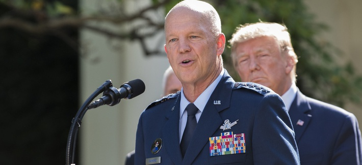 Air Force Gen. John Raymond, speaks at a White House ceremony for the establishment of U.S. Space Command on Aug. 29, 2019.