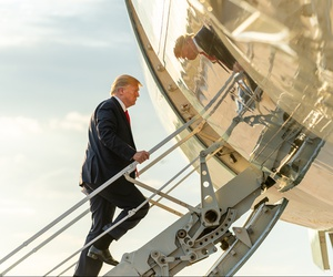 President Trump boards Air Force One at Austin-Bergstrom International Airport in Texas Wednesday for his flight back to Joint Base Andrews in Maryland.