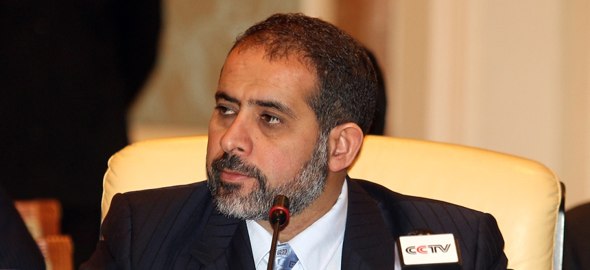 Aref Nayed, then the Libyan ambassador to the UAE, attends the Contact Group Meeting on Libya in the Qatari capital Doha on Wednesday Aug 24, 2011.