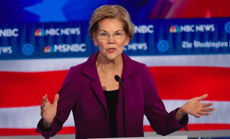 Democratic presidential candidate Sen. Elizabeth Warren, D-Mass., speaks during a Democratic presidential primary debate, Wednesday, Nov. 20, 2019, in Atlanta.
