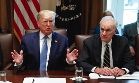 President Donald Trump speaks during a July 2019 Cabinet meeting in the Cabinet Room of the White House. Right, then-Acting Secretary of Defense Richard Spencer.