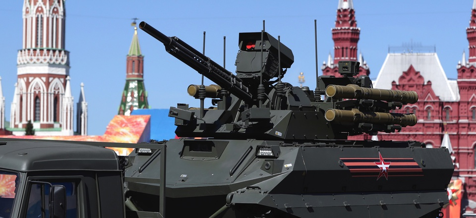 An unmanned combat ground vehicle Uran-9 is carried by a truck during the Victory Day military parade to celebrate 73 years since the end of WWII and the defeat of Nazi Germany, in Moscow, Russia, Wednesday, May 9, 2018.