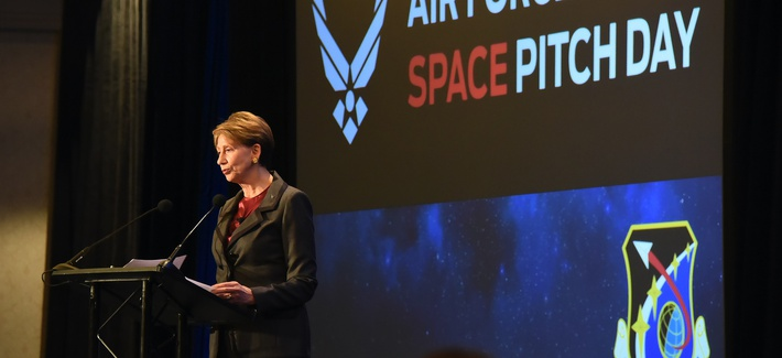 Secretary of the Air Force Barbara Barrett speaks during the commencement of the U.S. Air Force Space Pitch Day, Nov. 5, 2019, San Francisco, Calif.