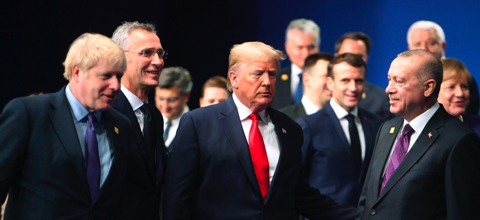 Britain's Prime Minister Boris Johnson, NATO Secretary General Jens Stoltenberg, U.S. President Donald Trump, French President Macron, and Turkey President Recep Tayyip Erdogan, at a NATO leaders meeting in Watford, England, Wednesday, Dec. 4, 2019.