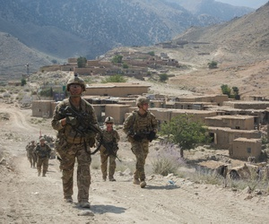U.S. Army Paratroopers, assigned to 2nd Battalion, 501st Parachute Infantry Regiment, 1st Brigade Combat Team, 82nd Airborne Division, conduct a tactical ground movement through Pekha Valley, Achin District, Nangahar Province, Afghanistan, Sept. 3, 2017.