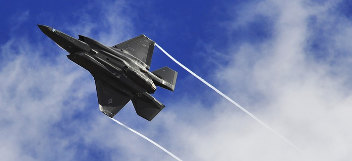 An F-35 Lightning II performs a maneuver over Luke Air Force Base, Ariz.