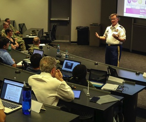 "Col. James ""Jim"" M. Chatfield, cyber director and deputy director of operations for the U.S. Army Reserve's 335th Signal Command (Theater), speaks to graduate students and Army ROTC cadets at Georgia Institute of Technology in 2017."