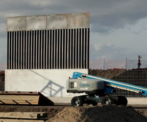 A new section of a border wall along the U.S/Mexico border in Donna, Texas.
