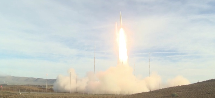 A screen grab of the Dec. 12 flight test of U.S. ground launched missile.