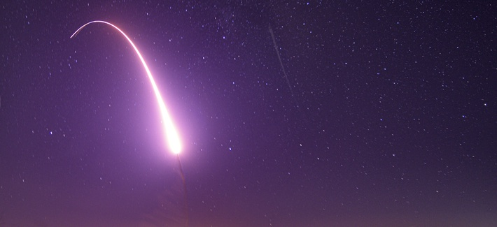 An unarmed Minuteman III ICBM launches during a test on Oct. 2, 2019, at Vandenberg Air Force Base, California.