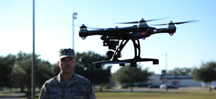 Maj. Joshua D. Pitler, 81st Operations Support Flight commander, operates an Unmanned Aerial System, more commonly known as a drone, Dec. 8, 2015, at Keesler Air Force Base, Miss.