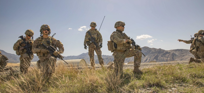 Soldiers of the 48th Infantry Brigade Combat Team secure a helicopter landing zone after a key leader engagement with senior leaders in the Afghan National Army in Kunar Province, Afghanistan, on March 24t 2019.