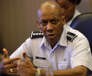 In this May 16, 2019, photo, Gen. Charles Q. Brown, Jr., commander of the U.S. Pacific Air Force talks to a select group of journalists during the course of his visit to the Philippines in suburban Pasay city south of Manila, Philippines.