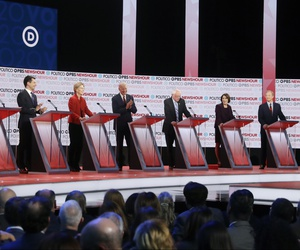 Democratic presidential candidates from left, entrepreneur Andrew Yang, South Bend Mayor Pete Buttigieg, Sen. Elizabeth Warren, D-Mass., former Vice President Joe Biden, Sen. Bernie Sanders, I-Vt., Sen. Amy Klobuchar, D-Minn., and businessman Tom Steyer.
