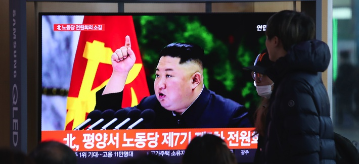 People watch a TV screen showing an image of North Korean leader Kim Jong Un during a news program at the Seoul Railway Station in Seoul, South Korea, Sunday, Dec. 29, 2019.