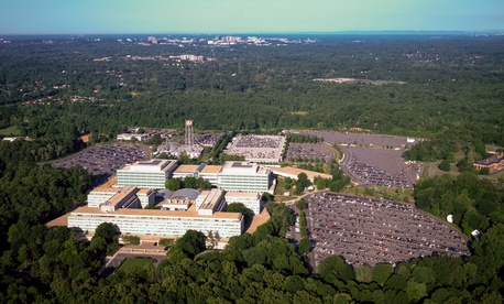 Aerial view of the Central Intelligence Agency headquarters, Langley, Virginia