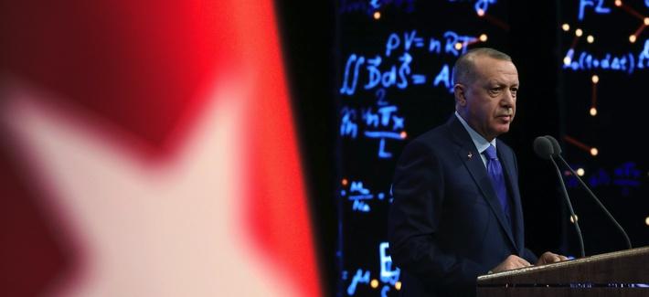Turkey's President Recep Tayyip Erdogan delivers a speech at an event in Ankara, Turkey, Monday, Dec. 30, 2019.