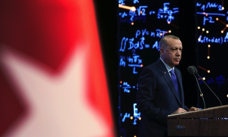 Turkey's President Recep Tayyip Erdogan delivers a speech at an event in Ankara, Turkey, Monday, Dec. 30, 2019.