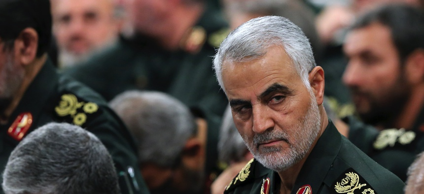 Gen. Qassem Soleimani, center, who heads the elite Quds Force of Iran's Revolutionary Guard attends a graduation ceremony of a group of the guard's of a group of the guard's officers in Tehran, Iran, in June 2018.