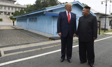In this June 30, 2019, file photo, U.S. President Donald Trump, left, meets with North Korean leader Kim Jong Un at the border village of Panmunjom in Demilitarized Zone, South Korea.