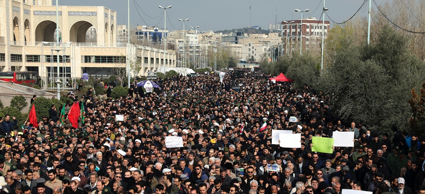 Protesters demonstrate over the U.S. airstrike in Iraq that killed Iranian Revolutionary Guard Gen. Qassem Soleimani in Tehran, Iran, Friday Jan. 3, 2020.