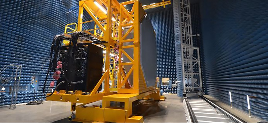 The U.S. Navy's SPY-6 integrated air & missile defense radar in production at Raytheon's Radar Development Facility in Andover, Massachusetts.
