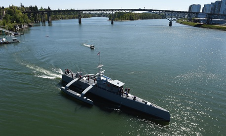 In this 2016 photo, Sea Hunter, a new type of unmanned ocean-going vessel gets underway on the Williammette River following a christening ceremony in Portland, Ore.