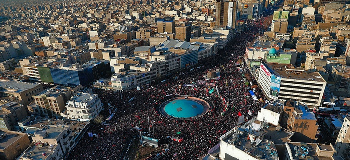 In this aerial photo released by the Iranian government, mourners attend a funeral ceremony for Iranian Gen. Qassem Soleimani and his comrades, who were killed in Iraq in a U.S. drone strike on Friday, in Tehran, Iran, Monday, Jan. 6, 2020.