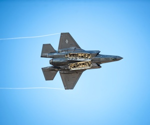 """Capt. Andrew """"Dojo"""" Olson, F-35 Demonstration Team pilot and commander performs a weapons bay doors pass during an F-35 Demo practice at Luke Air Force Base, Ariz., Jan. 16, 2019."""
