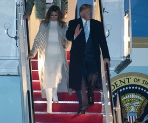 President Trump and his family exit Air Force One on Jan. 5 following a trip to his Mar-a-Lago estate in Florida.