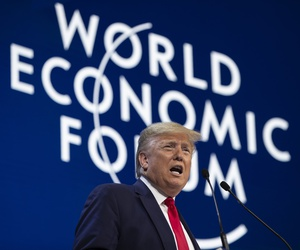 President Donald Trump delivers the opening remarks at the World Economic Forum, Tuesday, Jan. 21, 2020, in Davos, Switzerland.