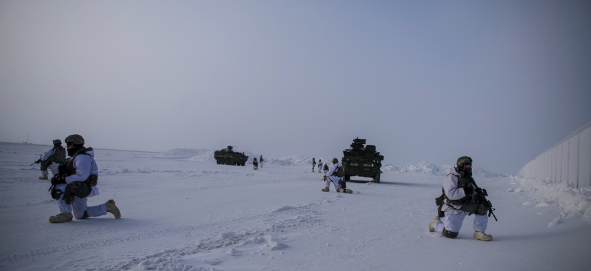 U.S. soldiers of the 21st Infantry Regiment provide overwatch during an arctic deployment of Stryker armored vehicles as part of the U.S. Army Alaska led exercise Arctic Edge 18 at Eleison Air Force Base, Alaska, March 13, 2018.