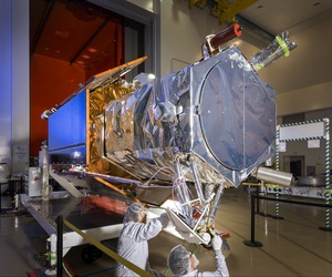 Employees at Lockheed Martin complete final preparations of the WorldView-4 imaging satellite as the team prepares for the upcoming launch at Vandenberg Air Force Base.