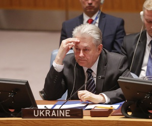 Ukraine's U.N. Ambassador Volodymyr Yelchenko views a video monitor as he listens to U.N. humanitarian chief Stephen O'Brien report to the Security Council in a live broadcast on the bombing of a hospital in Syria, Thursday April 28, 2016 at U.N. HQ.