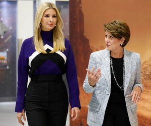 Lockheed Martin CEO Marillyn Hewson walks with Ivanka Trump at a Lockheed Martin space facility outside Denver, Colorado.